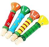 Treestar - Trombetta di legno per bambini, da usare come giocattolo e strumento musicale; multicolore (colore selezionato a caso)