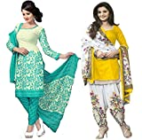 FRANSI FASHION Women's Cyan Color & Yellow Color Salwar suit