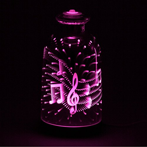 Nakhal 120ml 3D Glass Ultraschall Aromatherapie Diffusor Ätherische Öle – Herz-Musik