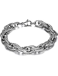 JewelryWe Unique Style Newest Mens Stainless Steel Bracelet 8 Inches, Colour Silver (with Gift Bag)