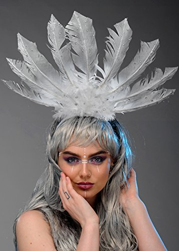 Womens Kopfschmuck Indian Kostüm - Magic Box Int. Weiß und Silber Tribal Indian Feather Headpiece