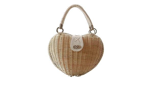 f77cc6ef77f5f Meaeo Frauen Beliebten Handtasche Herz Weibliche Sommer Strand Stroh Beutel  Vintage Rattan Lady Bag Travel Handmade