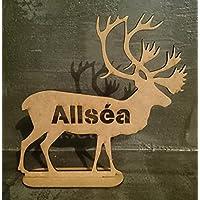 renne de noël personnalisée prénom au choix en bois cadeau unique, décoration sapin boule de noél marque place