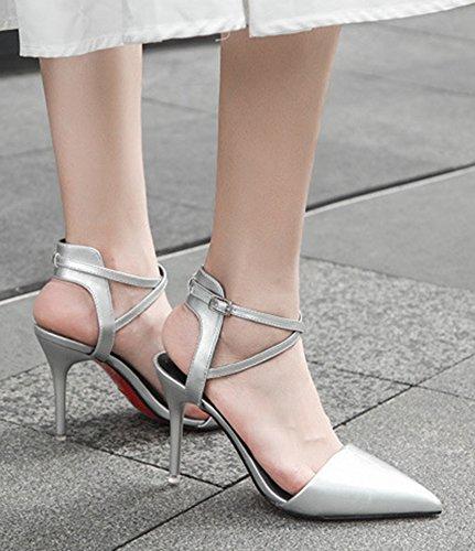 Aisun Femme Elégant Boucle Pointue Stiletto Escarpins Argent