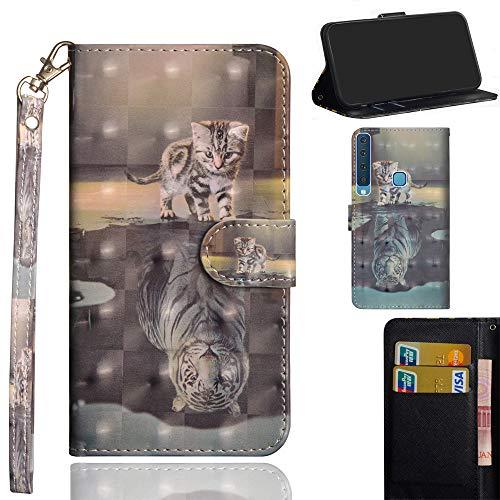 Ooboom Samsung Galaxy A9 2018 Hülle 3D Flip PU Leder Schutzhülle Handy Tasche Case Cover Ständer mit Kartenfach Integrierten Kartensteckplätzen Trageschlaufe für Samsung Galaxy A9 2018 - Katze Tiger