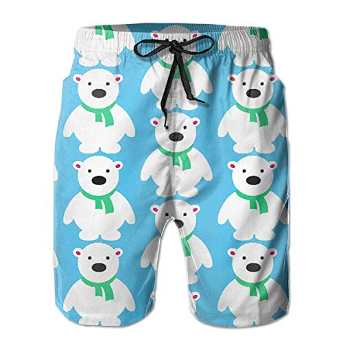 OPoplizg Boys Board Shorts Cute Polar Bear Ice Blue Quick Dry Swim Surf Trunks,XXL -
