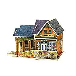 Creative Assemble Puzzle Toys Child Early Education Wooden 3D Puzzle House Norway Train Station