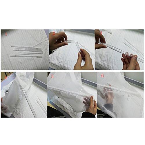 SIMPVALE 1 Stück Raffrollo für Küche und Balkon – Gardinen – Einfaches Aufhängen, Polyester, weiß, Breite 80cm/Höhe 130cm - 4