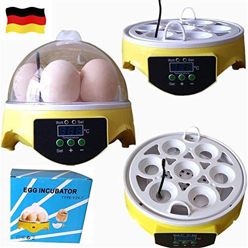 YIYIBY Mini Motorbrüter Inkubator, Vollautomatische Brutmaschine, Motorbrüter Hühner, Brutapparat mit LED Temperaturanzeige und Temperaturfühler, für 7 Hühnereier