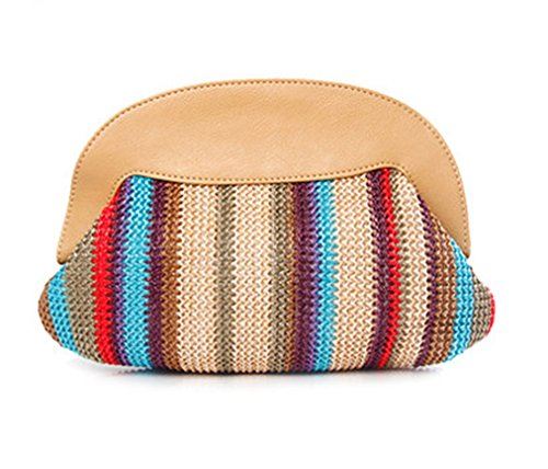Happy Lily, Poschette giorno donna, brown (marrone) - PPstrawclutchbagSquare Multicolored
