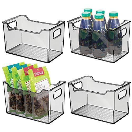 mDesign Juego de 4 fiambreras para el frigor/ífico Gris Humo Cajas de pl/ástico para Guardar Alimentos Frutas y Otros Alimentos Organizador de Nevera para l/ácteos