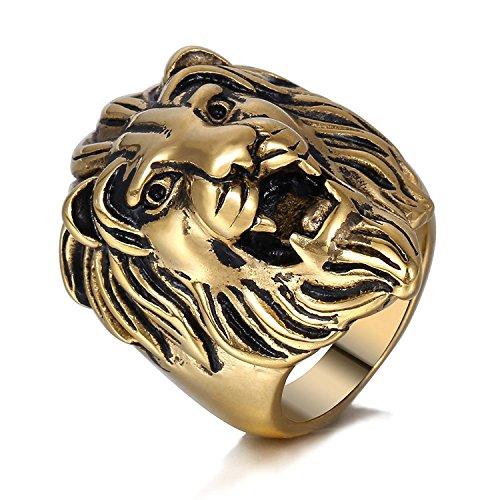 Trendsmax Herren Ring 316L Edelstahl Ringe Gold-Ton Roaring Lion King Gravierte geschnitzt Retro [Größe:59] Herren-lion-ringe Aus Edelstahl