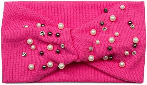 styleBREAKER Haarband in Feinripp Optik mit Schleife, Strass und Perlen, Stirnband, Headband, Damen 04026011, Farbe:Pink