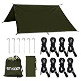 ENKEEO 3m x 3m Camping Shelter Tarp Anti UV Lightweight Rain Fly Waterproof