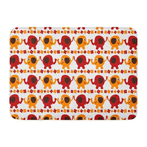 Soefipok Alfombra de baño Moderno, Lindo, Rojo y Naranja, Elefantes, con baúles,...
