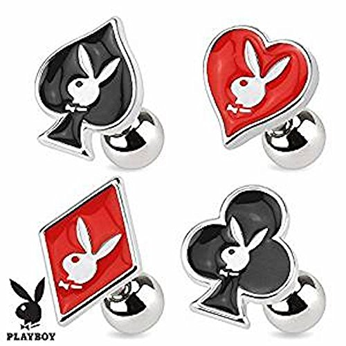 1 x offizieller lizenzierter Playboy schwarzer Emaille-Klee-Karten-Anzug und Häschen-Tragus oder Knorpel-Piercing Dicke: 1,2mm Länge: 6mm Ball Größe: 4mm Material: Chirurgischer (Anzug Häschen Kostüme)