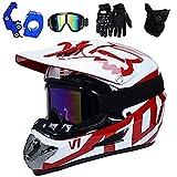 DSHZ Motorbike helmets ® Red White Motocross Cross Helmet Adult HG-37 Off-Road Motorbike Helmet with Goggles Gloves Mask Helmet hook for Mountain Bike All-Around Beach Racing Men And Women@L(56~57CM)