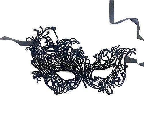 Hoveey Augenmaske Schwanenball aus schwarzer Spitze für Halloween, ()