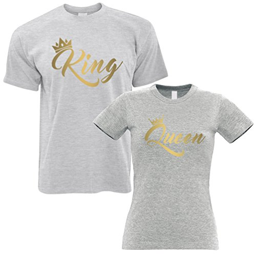 Couples Pack of 2 T-Shirts in Grey King Queen Cute Gold Metallic Urban Valentines Boyfriend Girlfriend Husband Wife Love Lover Cool Funny Gift Present