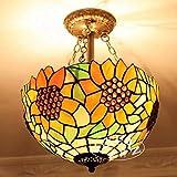 TOYM UK- Partydekoration Ganglichter Balkon ländlichen Gegend festlichen Sonnenblume-Kunst Glas-Kronleuchter