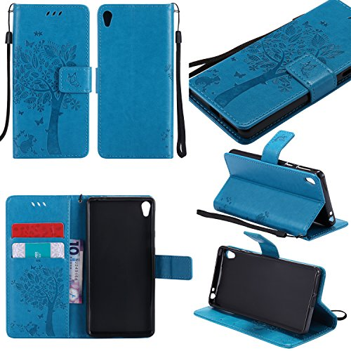 Sony Xperia E5 Case Leather [Blue], Cozy Hut [Wallet Case] Premium Soft PU Leather Notebook Wallet Embossed Flower Tree Design Case with [Kickstand] Stand Function Card Holder and ID Slot Slim Flip Protective Skin Cover for Sony Xperia E5 5,0- Blue Test