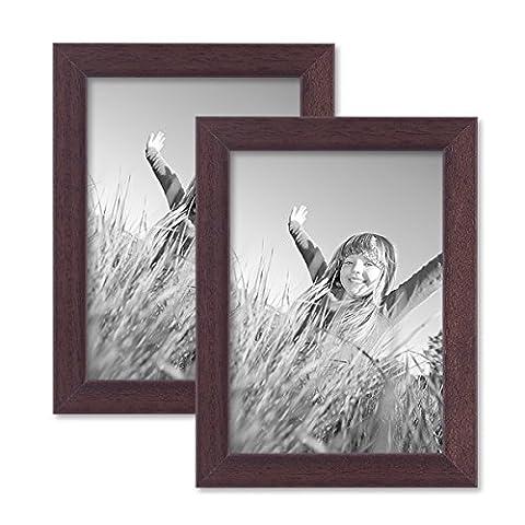 2er Set Bilderrahmen 13x18 cm Nuss Modern Massivholz-Rahmen mit Glasscheibe und Zubehör /