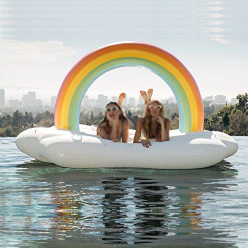 WLWWY Riesiger Aufblasbarer Regenbogen, Lebenboje, Swimmingpool Im Freien Floatie Float-Aufenthaltsraum-Spielzeug-Bett mit Schnellen Ventilen Für Erwachsene, Kinder 220 * 130 * 110Cm