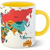 Chiraiyaa Creative World Map - Inner Yellow Printed With Yellow Printed Handle Ceramic Mug
