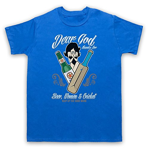 Dear God Thanks For Beer Women And Cricket Funny Cricket Slogan Herren T-Shirt Blau