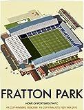 Art247-Aimant de réfrigérateur avec Motif de Fratton Park, Home de Portsmouth F.C. Par Dave illustrateur Thompson mm - 50 x 80 mm