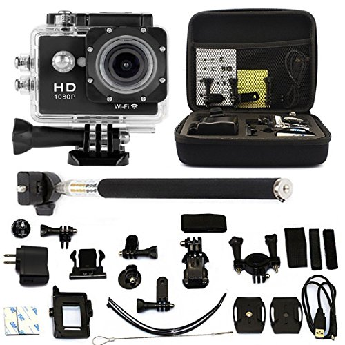 "W9 2.0"" WIFI 1080P HD Wireless Sport Action Camera Car Recorder DVR DV Video Waterproof CAM + Monopod + Bag"