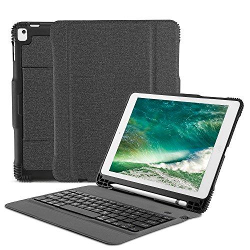OMOTON Funda Teclado para iPad 9.7 2018, iPad 9.7 2017, iPad Pro 9.7, iPad Air 9.7 Pulgadas, Español Teclado Bluetooth Movible, Negro