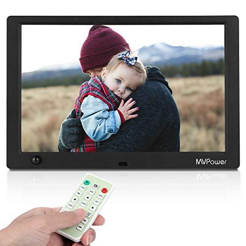 MVPower 10 Zoll Digitaler Bilderrahmen mit Fernbedienung,1280x800 Full-IPS-Display Foto/Musik/Video Player Kalender,Bewegungssensor,automatischer AN/AUS,Unterstützt 1080p -Video,USB SD- und SDHC-Karte