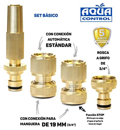 Aqua Control MSET03 Bewässerungs-Set Messing Metall und langlebig Komplettset für 19 mm Schlauch mit 3/4