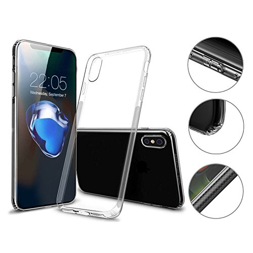 Hetcher Tech Premium Hülle iPhone X XS Transparent Durchsichtig - Viele Vorteile - Silikon Schutzhülle für Apple iPhone X und XS - Handyhülle Cover Case Bumper mit Staubschutz