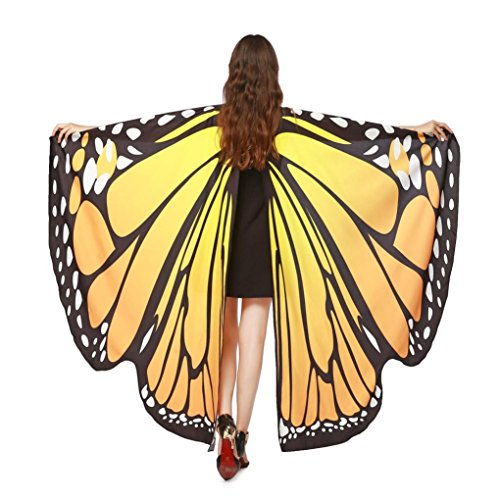 Overdose Frauen 197*125CM Weiche Gewebe Schmetterlings Flügel Schal feenhafte Damen Nymphe Pixie Kostüm Zusatz (197*125CM, B-Orange(168*135CM)) (Baby Indianer Kostüm)