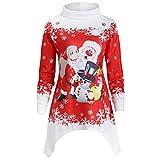 VEMOW Heißer Einzigartiges Design Mode Damen Frauen Frohe Weihnachten Schneeflocke Gedruckt Tops Cowl Neck Casual Sweatshirt Bluse(Y1-a-Rot 2, EU-34/CN-S)