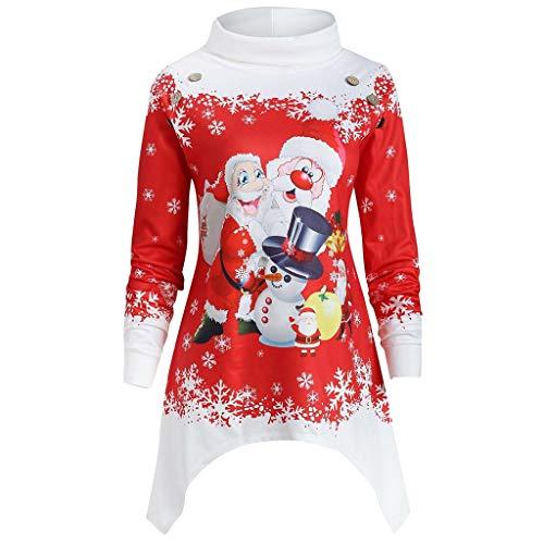 VEMOW Heißer Einzigartiges Design Mode Damen Frauen Frohe Weihnachten Schneeflocke Gedruckt Tops Cowl Neck Casual Sweatshirt Bluse(Y1-a-Rot 2, EU-38/CN-L)