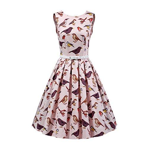 LUOUSE Damen Kleid Neckholder 50er Blumen Schaukel Pinup Rockabilly Vintage Kleid V068-Pink