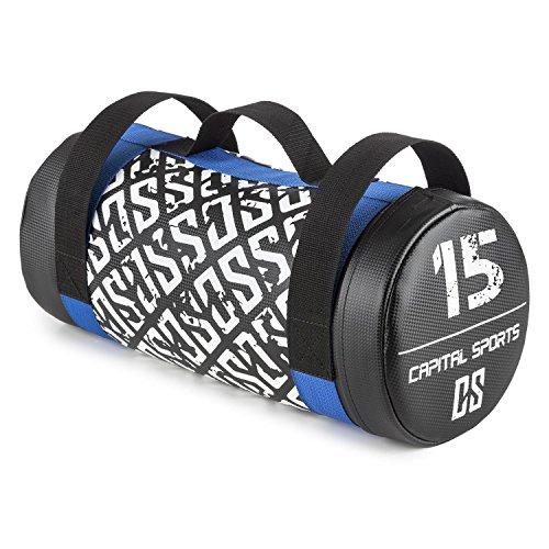 CAPITAL SPORTS Toughbag Power Bag Saco de arena 15 kg Cuero artificial (Entrenamiento fuerza resistencia, tiros, oscilaciones, empujes, revestimiento suave, 3 asas de nylon resistente)