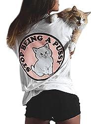 YUHX Damen Stop Being a Pussy T-Shirt Katzen Tops Tierdruck Grafik Oberteil Rundhals Kurzarm Hemd