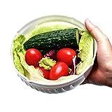 JER Salat Cutter Bowl, 60 Sekunden, Gemüseschäler, Salatschüssel, Salat, Schneiden von Gemüse frischen Früchten in wenigen Sekunden, Weiß