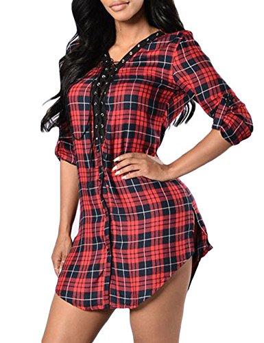 Pinkyee Damen Kleid Rot
