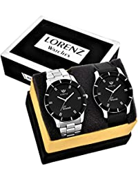 Lorenz MK-6609A Leather Strap / Metal Strap Watch Combo Of 2 Stylish Black Dial Mens Wrist Watches / Boys Watches