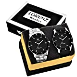 #8: Lorenz MK-6609A Leather Strap / Metal Strap Watch Combo of 2 Stylish Black Dial Mens wrist Watches / Boys Watches