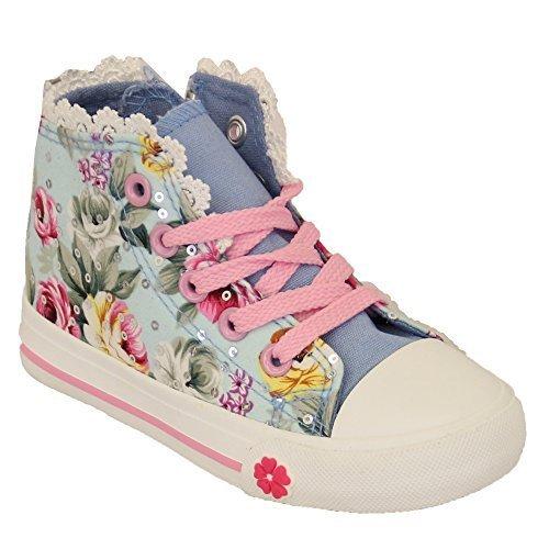 Sneakers Meninas Crianças Florais Crianças Padrão Kelsi Até As Rendas Bombas Planas Zipper Céu Sapatos - Tr18
