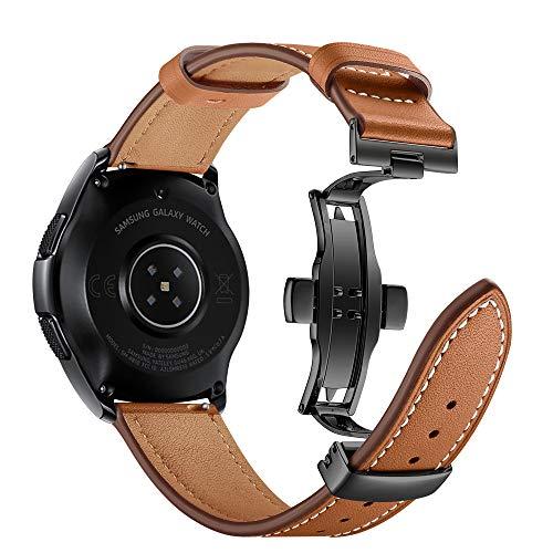 Myada Kompatibel mit Armband Samsung Galaxy Watch 42mm Leder,Armband für Samsung Galaxy Watch Active Lederarmband Gear Sport Armband Garmin Vivoactive 3 Leder Armbänder Gear S2 Classic Sportarmband