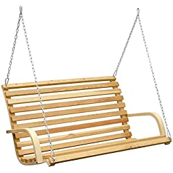 Banco para columpio de porche, 3 personas, concebido para ser colgado | Balancin de jardin para toda la familia en madera de Alerce | robustas cadenas y ganchos incluidos | Ideal para interiores y exteriores