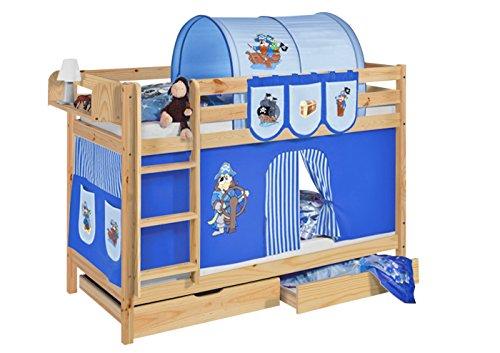 Lilokids Etagenbett Jelle TÜV und GS geprüft Pirat, Spielbett mit Vorhang und Lattenroste Kinderbett, Holz, blau, 208 x 98 x 150 cm