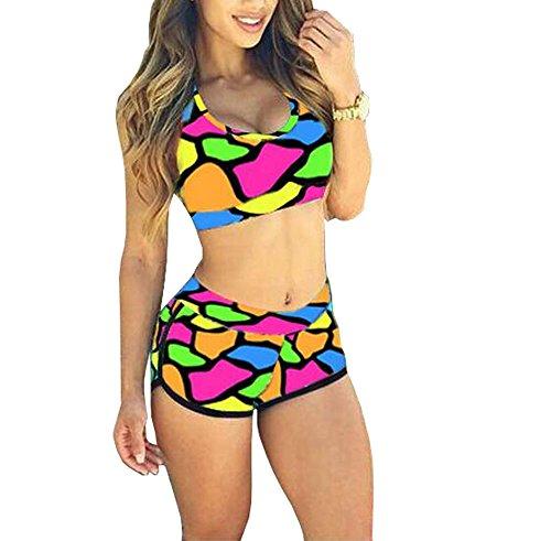 Himoya Frauen Casual Bandage Sport Beachwear Floral Printed Badeanzug Top & Short High Waisted Bademode Bunt